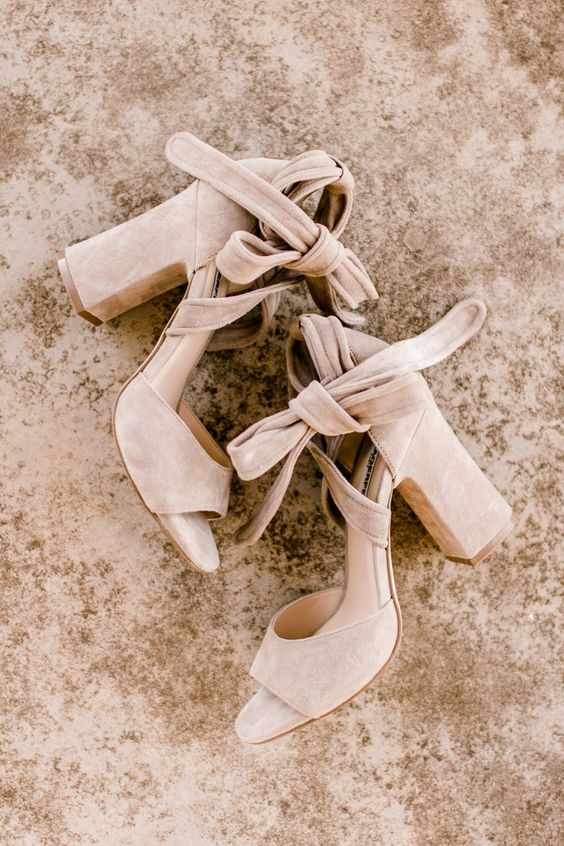 gorgeous boho suede block heels with bows will accent your bridal look subtly and stylishly