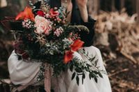 21 grey suede booties and a black leather jacket make this bridal look very edgy and bold