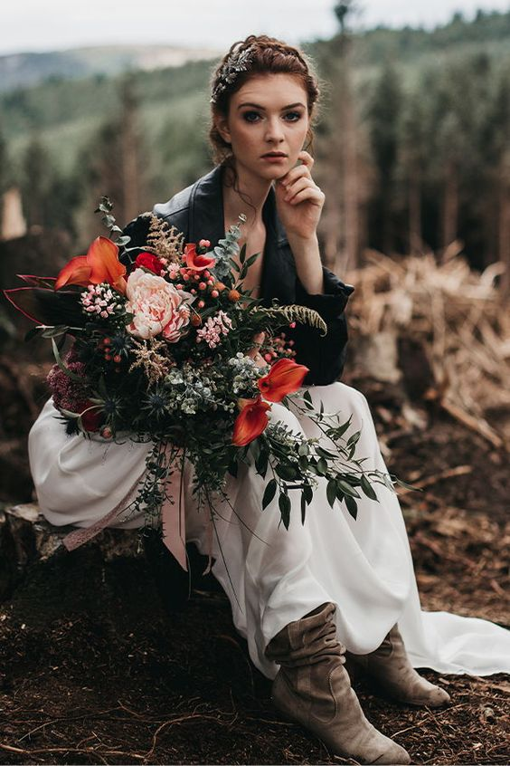 grey suede booties and a black leather jacket make this bridal look very edgy and bold