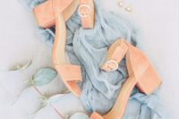 22 living coral ankle strap wedding shoes with block heels feature 2 trends in one