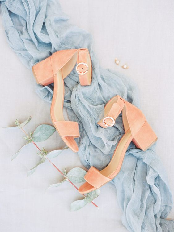 living coral ankle strap wedding shoes with block heels feature 2 trends in one