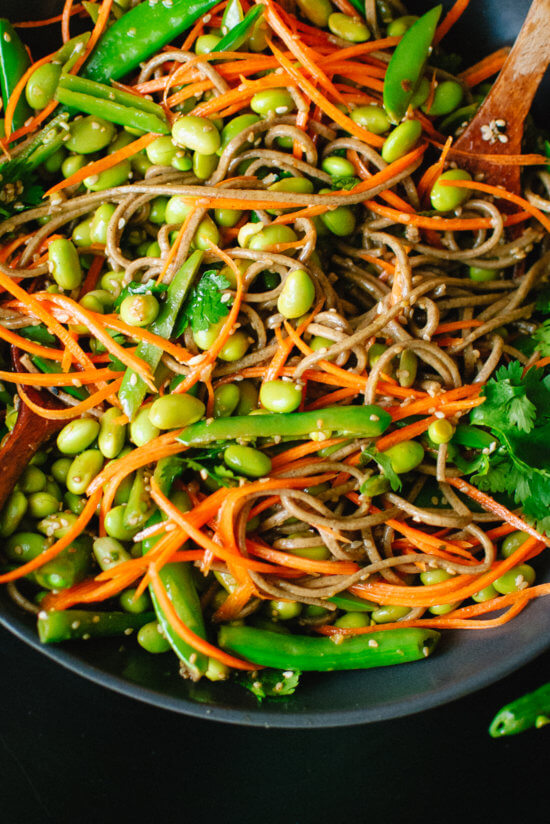 soba noodles with snap peas, carrots, cilantro, ginger and sesame oil
