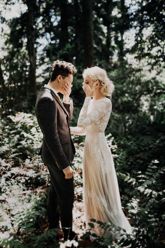 the first look in the forest is a fantastic idea to impress each other - pick an awesome location for that