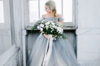 23 a trendy grey off the shoulder wedding ballgown with many layers is a more modern version of princess style dresses