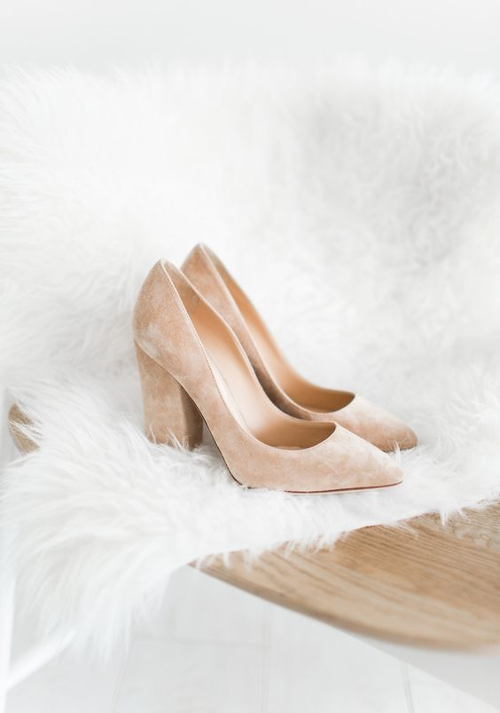 blush suede block heels like these ones are a girlish and cute idea to rock at the wedding