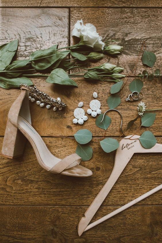 nude suede block heels with ankle straps embellished with rhinestones and pearls for a boho bride