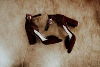 26 burgundy suede block heels with ankle straps and detailing for a fall boho bride