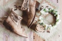26 tan laser cut wedding booties for ultimate comfort at your boho rustic wedding