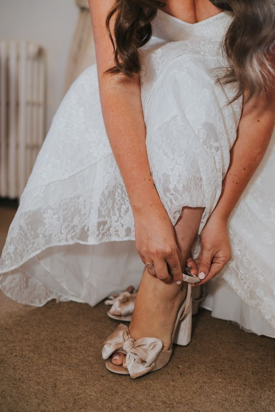 nude velvet bow block heels with ankel straps are a very girlish and cute idea for a bride
