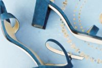 28 bold blue suede ankle strap sandals with block heels are a bold something blue option