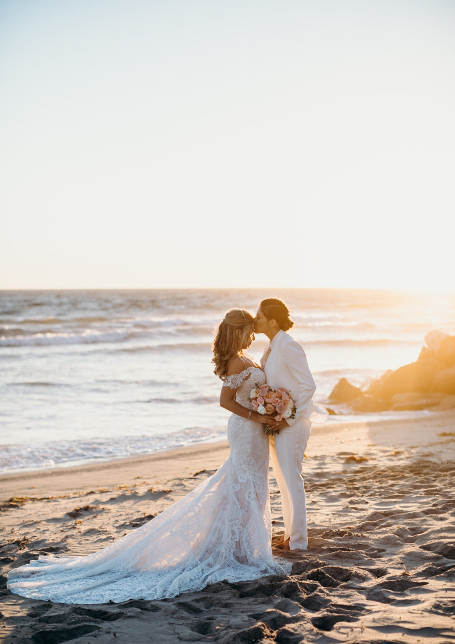 This oceanfront wedding is very heartwarming, with beautiful sunset tones and a cool beach