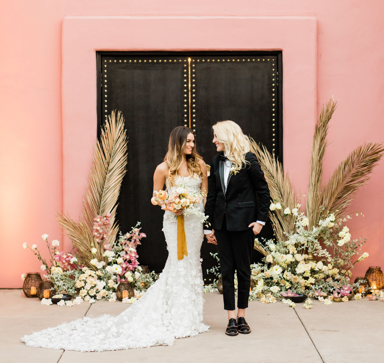 This wedding shoot was done with Moroccan desert meets modern theme and touches of pink and bold black