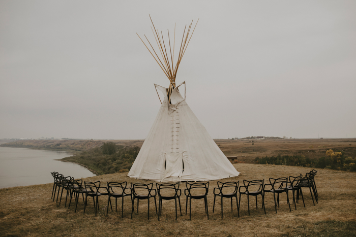 The ceremony space was done with a large 20ft teepee and chairs placed around it