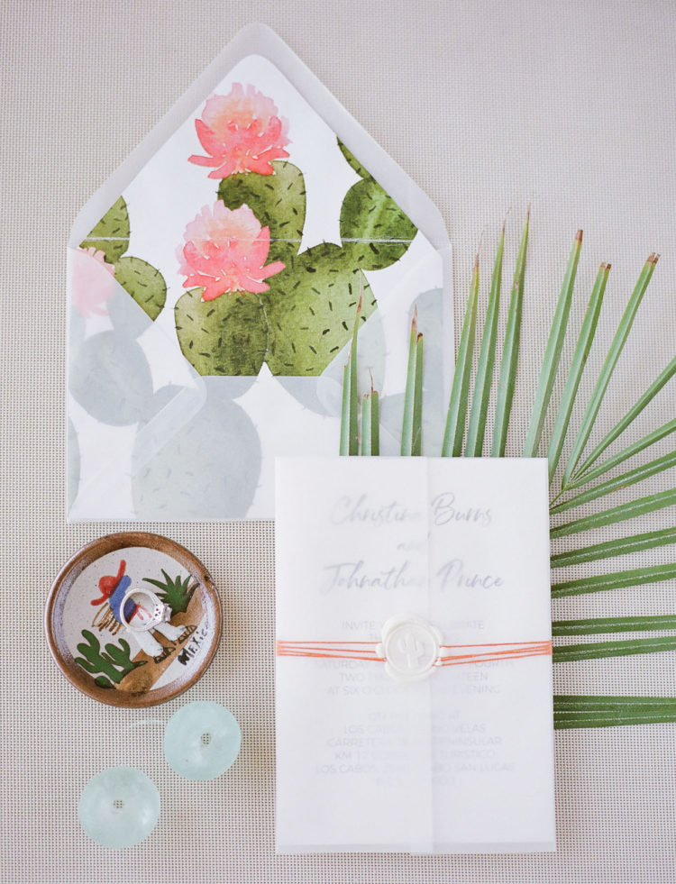 The wedding stationery suite was done with cacti and colorful yarn to embrace the destination