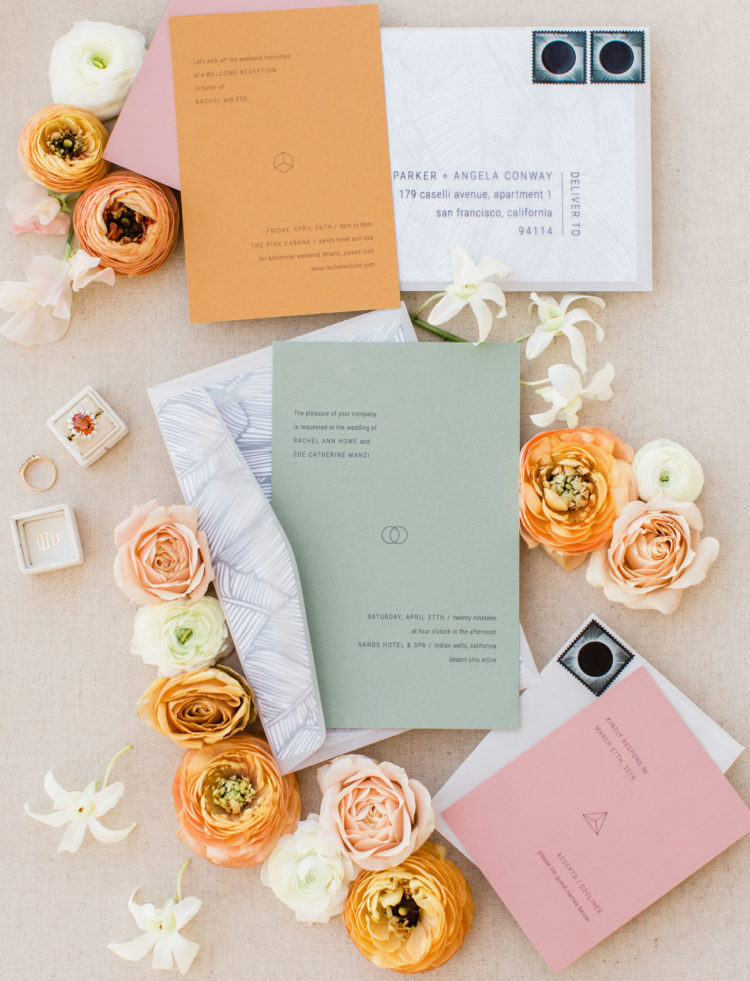 The wedding stationery was done minimal but in bold colors