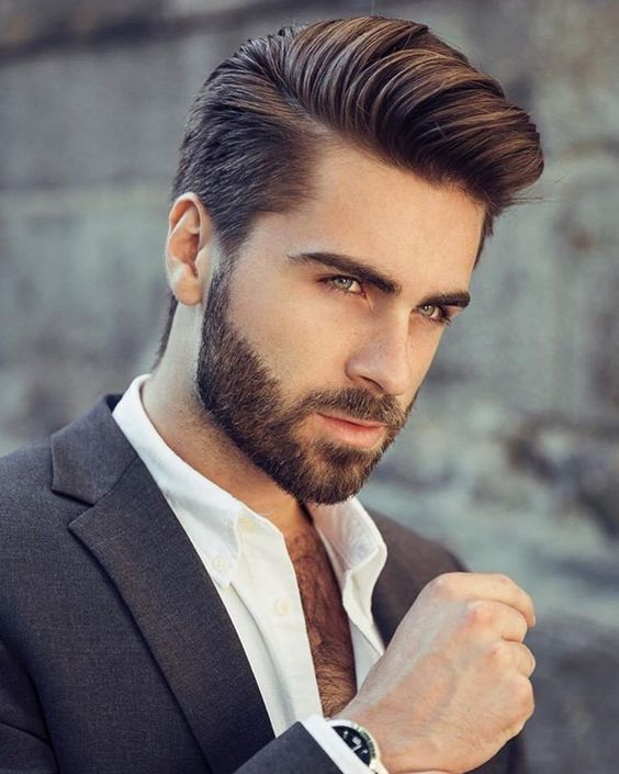 a stylish and classic pompadour haircut with a beard always works and looks very elegant