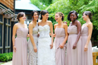 02 strapless lilac maxi dresses with draping and a lace neutral one shoulder dress that matches in color