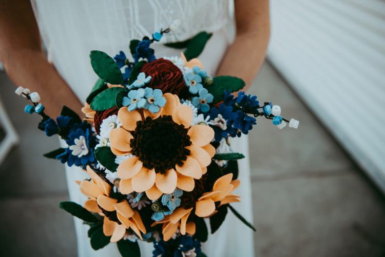 a nice wedding bouquet made of fabric flowers