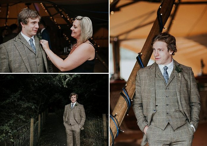The groom was rocking a brown checked three-piece suit with a grey printed tie