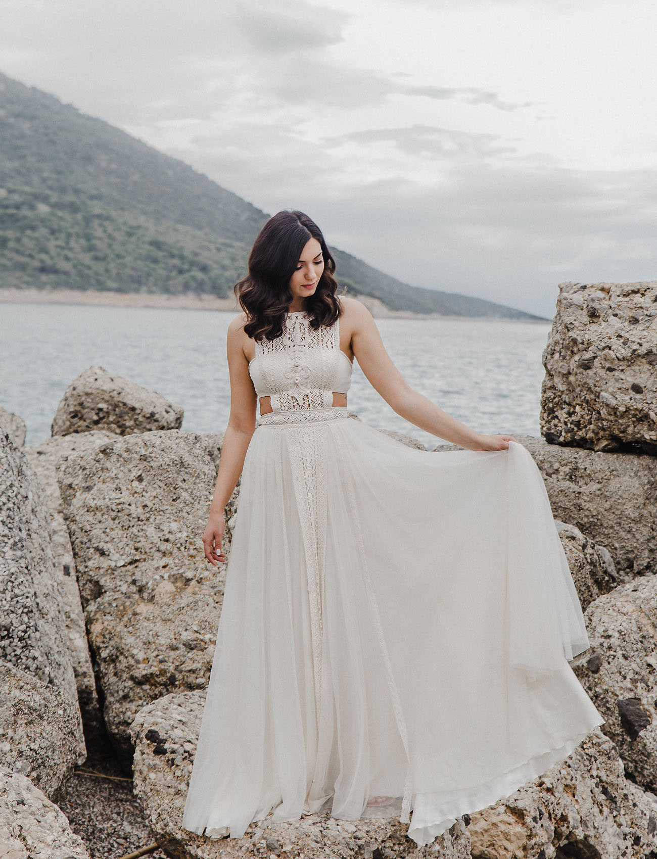 The wedding dress was an A line one, with a crochet bodice and a plain skirt with a small train