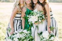 03 straped maxi gowns in black and white and an emerald one shoulder maxi dress for the maid of honor