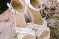 03 white lace wedges with ankle straps are a chic idea with a vintage feel
