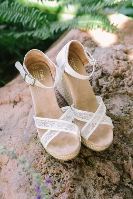 white lace wedges with ankle straps are a chic idea with a vintage feel