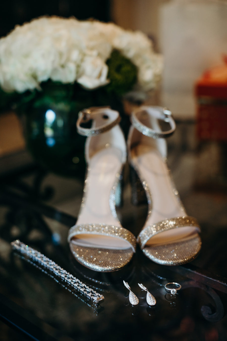 Look at these glam sparkly shoes and statement earrings, aren't they amazing