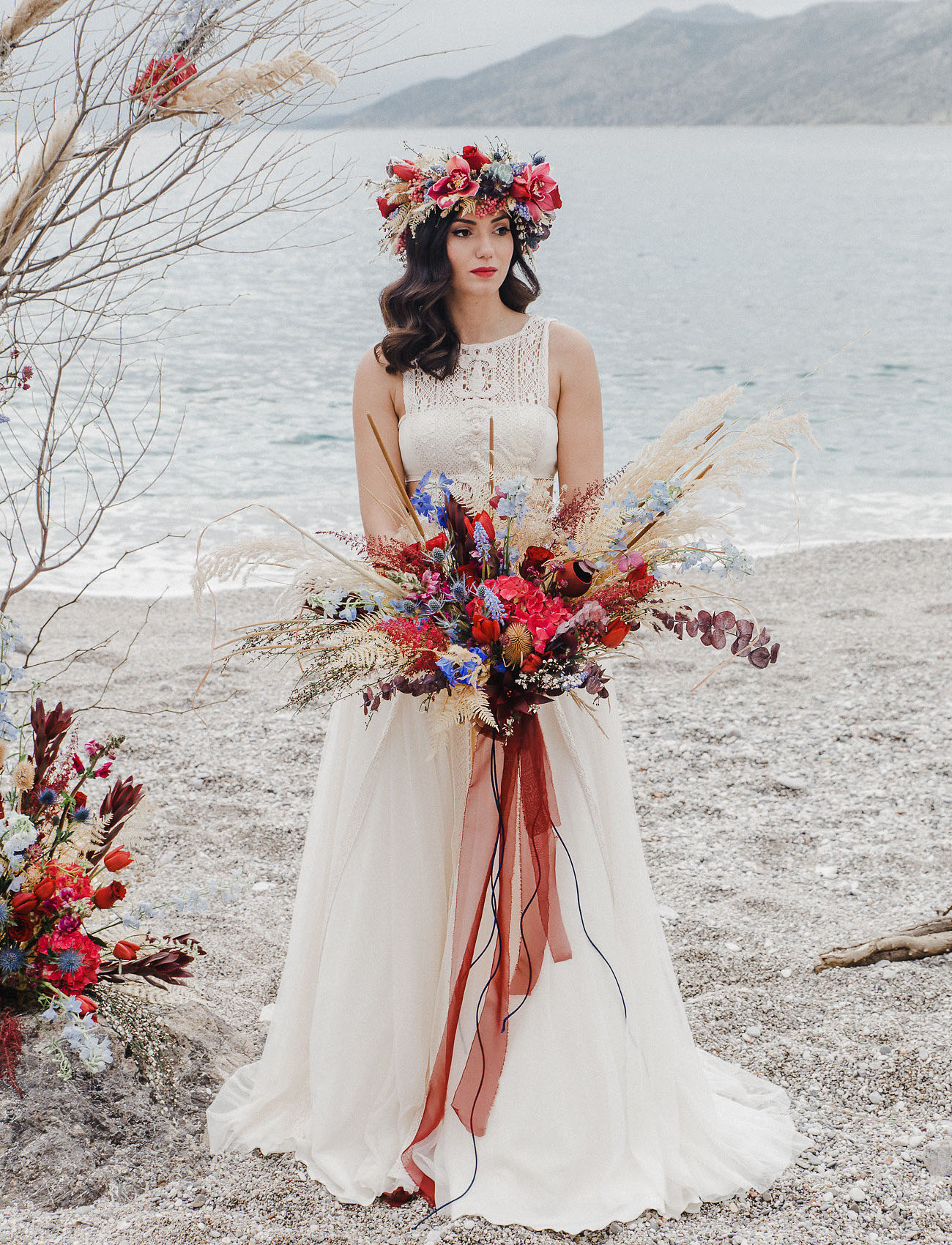 She finished off her look with a bright floral crown that matched the bouquet