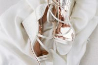 04 chic white printed wedding wedges with many thin straps by Badgley Mischka