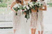 04 white lace fitting spaghetti strap bridesmaid dresses and a different boho lace one with a high neckline and short sleeves