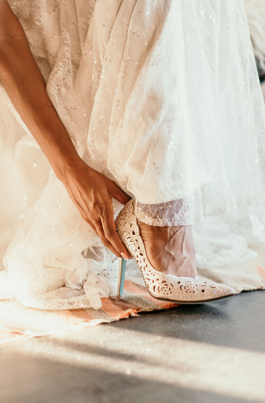 gorgeous laser cut shoes for a bride