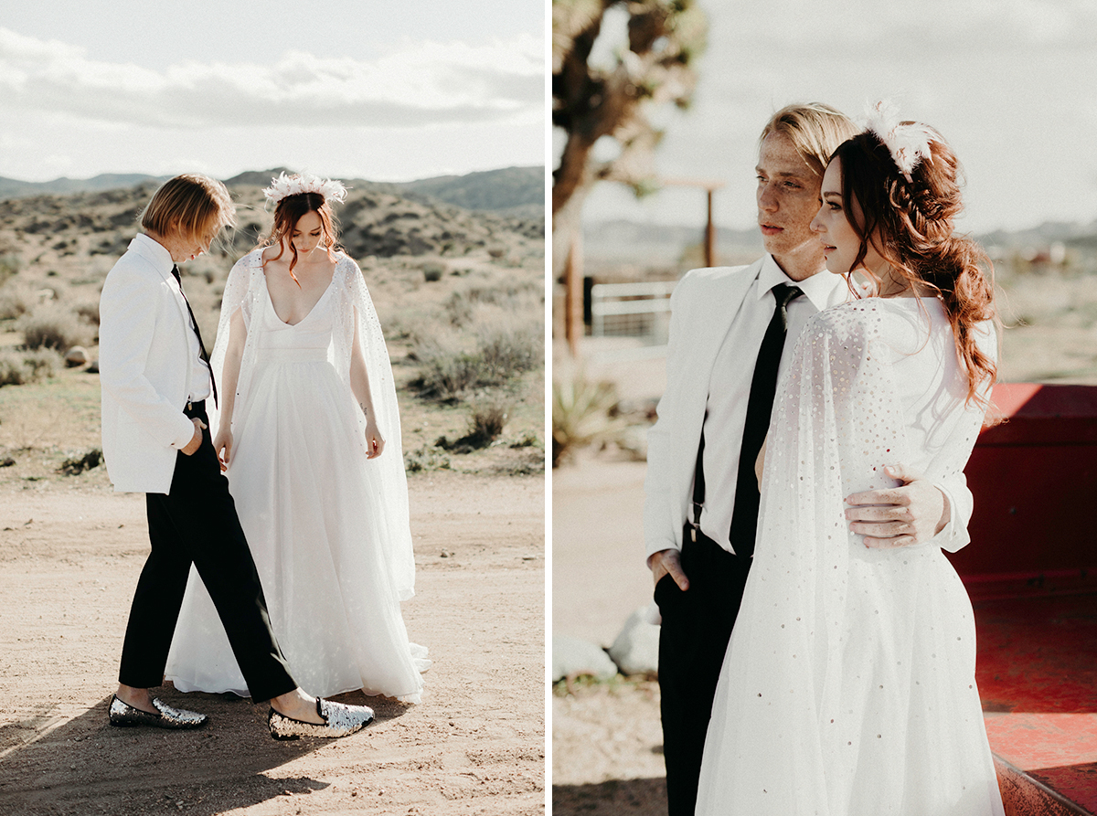 The second bride was rocking a plain A line gown and an embellished coverup, the groom was rocking black and white