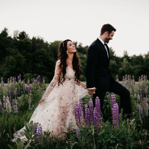 a blush sheer wedding dress with silver stars, long sleeves and a V-neckline looks very girlish and romantic