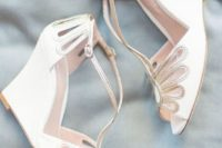 06 elegant laser cut wedding wedges with touches of silver and thin ankle straps for a vintage feel