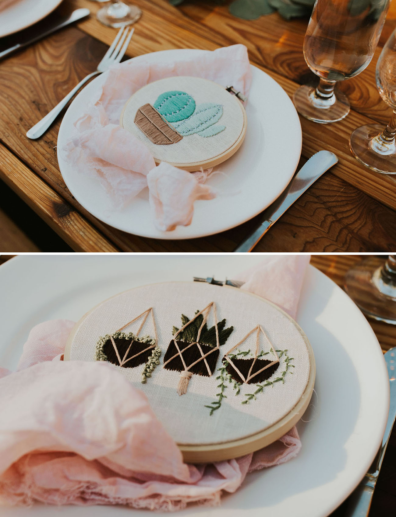 These cute favors were embroidered by the bride herself