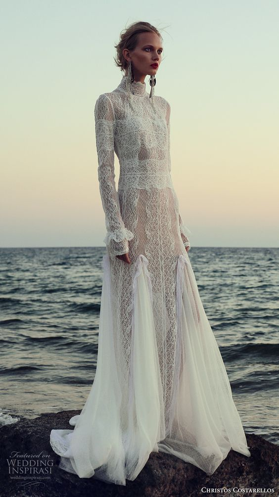 a chic free-spirited lace sheath wedding dress with long sleeves, a turtleneck and a catchy skirt with a train