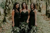 07 black draped maxi dresses with spaghetti straps and a halter neckline one for the maid of honor