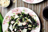 07 delicious spring salad of fresh asil, fennel, radishes, sliced almonds and tangerine vinaigrette
