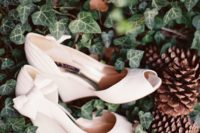 07 elegant white wedges with bows on the sides and peep toes will give a chic feel to your look
