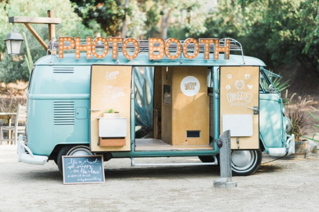 A retro van served as a photo booth, which is a very cute idea