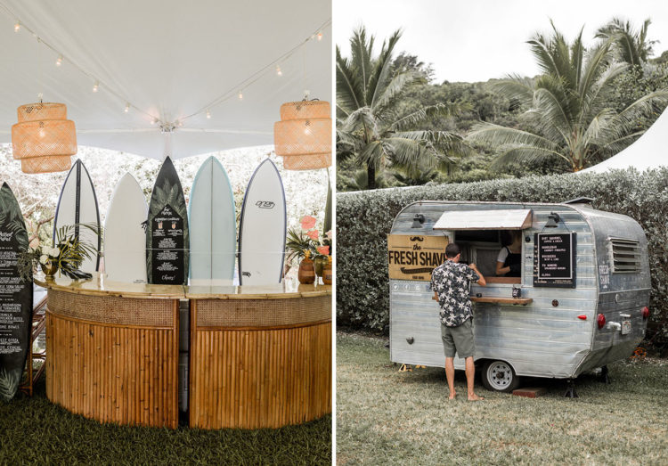 A surfer bar and a shaved ice cream bar were a great idea to pull off at a tropical wedding
