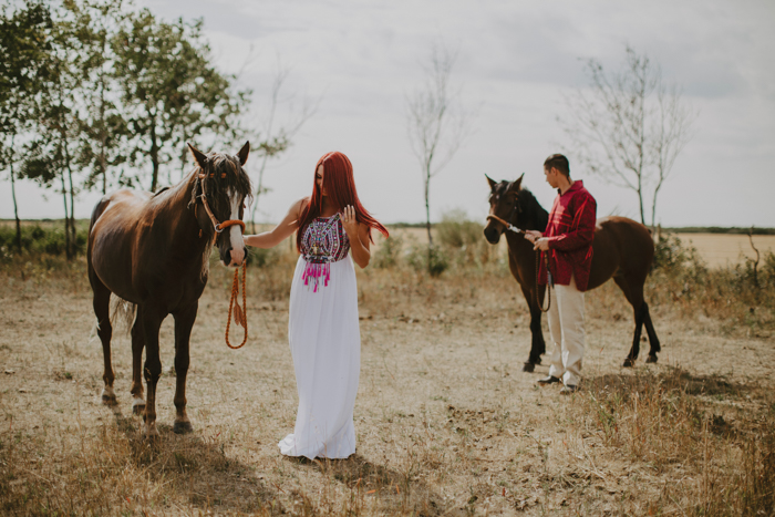 The couple went for a walk with horses and just look at that gorgeous bridal dress