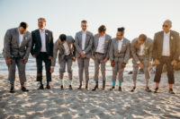 groomsmen on a beach