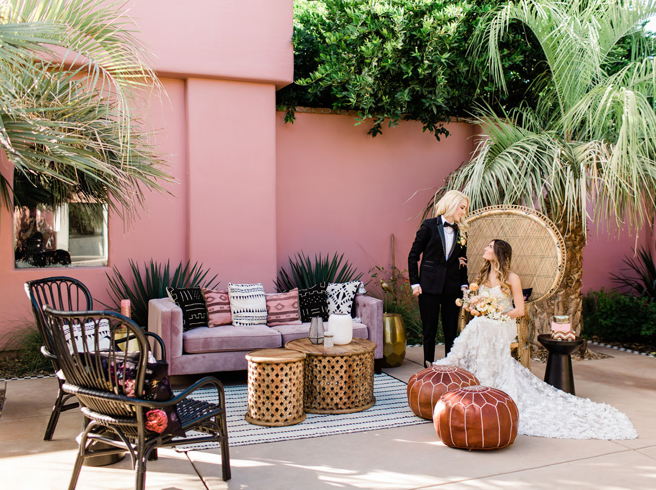 The wedding lounge was truly Moroccan, with leather ottomans, carved tables and a purple sofa
