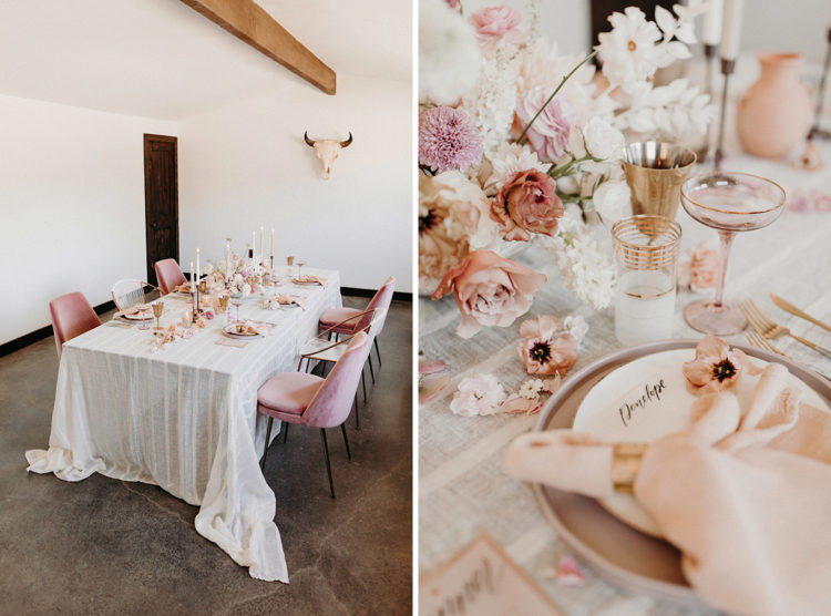 The wedding tablescape was done in peachy pink and coral, with candles and touches of gold