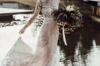08 a fantastic lace long sleeve turtleneck sheath wedding gown with embellishments and pearls