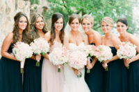 08 black strapless maxi gowns with draped bodices and a matching blush one for the maid of honor