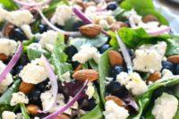 08 tasty spring salad of blueberries, feta cheese, almonds and with lemon poppyseed vinaigrette