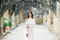 09 a lace sheath wedding dress with long sleeves, a turtleneck and a small train is a gorgeous idea for a modern romantic bride